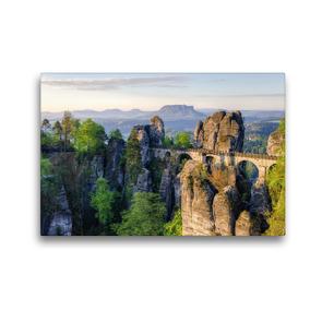Premium Textil-Leinwand 45 x 30 cm Quer-Format Basteibrücke in der Sächsischen Schweiz | Wandbild, HD-Bild auf Keilrahmen, Fertigbild auf hochwertigem Vlies, Leinwanddruck von Michael Valjak
