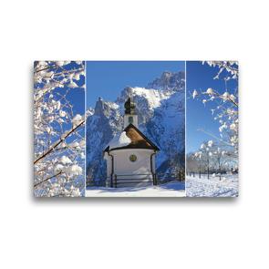 Premium Textil-Leinwand 45 x 30 cm Quer-Format Bergwinter Oberbayern Kapelle im Karwendel | Wandbild, HD-Bild auf Keilrahmen, Fertigbild auf hochwertigem Vlies, Leinwanddruck von SusaZoom