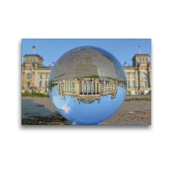 Premium Textil-Leinwand 45 x 30 cm Quer-Format Berlin in der Kugel – Die Hauptstadt steht Kopf   Wandbild, HD-Bild auf Keilrahmen, Fertigbild auf hochwertigem Vlies, Leinwanddruck von Barbara Hilmer-Schröer und Ralf Schröer