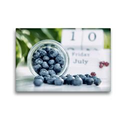 Premium Textil-Leinwand 45 x 30 cm Quer-Format Blaubeeren in der Sommerküche | Wandbild, HD-Bild auf Keilrahmen, Fertigbild auf hochwertigem Vlies, Leinwanddruck von Tanja Riedel