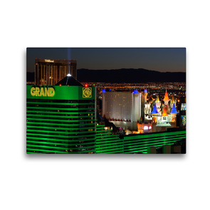 Premium Textil-Leinwand 45 x 30 cm Quer-Format Blick auf den nächtlichen Las Vegas Boulevard | Wandbild, HD-Bild auf Keilrahmen, Fertigbild auf hochwertigem Vlies, Leinwanddruck von Dieter-M. Wilczek