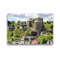 Premium Textil-Leinwand 45 x 30 cm Quer-Format Blick auf die Burg Monschau | Wandbild, HD-Bild auf Keilrahmen, Fertigbild auf hochwertigem Vlies, Leinwanddruck von Arno Klatt