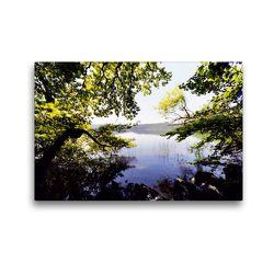 Premium Textil-Leinwand 45 x 30 cm Quer-Format Blick durch die Bäume am Laacher See   Wandbild, HD-Bild auf Keilrahmen, Fertigbild auf hochwertigem Vlies, Leinwanddruck von Anja Frost