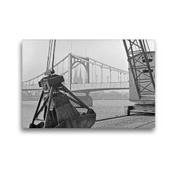 Premium Textil-Leinwand 45 x 30 cm Quer-Format Blick durch einen Kran in Deutz auf die Stadtseite und den Dom in Köln, 30er   Wandbild, HD-Bild auf Keilrahmen, Fertigbild auf hochwertigem Vlies, Leinwanddruck von United Archives / Karl Heinrich Lämmel