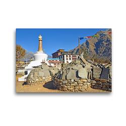 Premium Textil-Leinwand 45 x 30 cm Quer-Format Blick zur Tengboche Gompa auf 3860 m Höhe, dem wichtigsten buddhistischen Kloster im Khumbu | Wandbild, HD-Bild auf Keilrahmen, Fertigbild auf hochwertigem Vlies, Leinwanddruck von Ulrich Senff