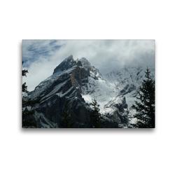 Premium Textil-Leinwand 45 x 30 cm Quer-Format Blüemlisalp in den Wolken | Wandbild, HD-Bild auf Keilrahmen, Fertigbild auf hochwertigem Vlies, Leinwanddruck von kattobello