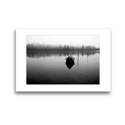 Premium Textil-Leinwand 45 x 30 cm Quer-Format Boot im Lech   Wandbild, HD-Bild auf Keilrahmen, Fertigbild auf hochwertigem Vlies, Leinwanddruck von Martina Marten