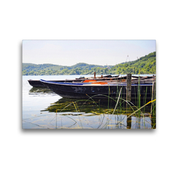 Premium Textil-Leinwand 45 x 30 cm Quer-Format Boote am Laacher See | Wandbild, HD-Bild auf Keilrahmen, Fertigbild auf hochwertigem Vlies, Leinwanddruck von Anja Frost