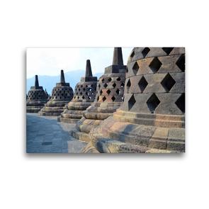 Premium Textil-Leinwand 45 x 30 cm Quer-Format Borobudur Tempel, Yogyakarta, Indonesien | Wandbild, HD-Bild auf Keilrahmen, Fertigbild auf hochwertigem Vlies, Leinwanddruck von Jasmin Krauth