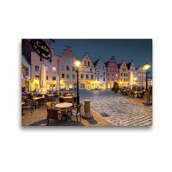 Premium Textil-Leinwand 45 x 30 cm Quer-Format Bürgerhäuser Marktplatz Osnabrück im Abendlicht   Wandbild, HD-Bild auf Keilrahmen, Fertigbild auf hochwertigem Vlies, Leinwanddruck von Kurt Krause