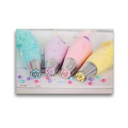 Premium Textil-Leinwand 45 x 30 cm Quer-Format Bunte Cremen für Torten und Cupcakes | Wandbild, HD-Bild auf Keilrahmen, Fertigbild auf hochwertigem Vlies, Leinwanddruck von Rose Hurley