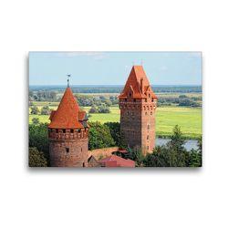 Premium Textil-Leinwand 45 x 30 cm Quer-Format Burganlage und Bergfried von Tangermünde (Sachsen-Anhalt) | Wandbild, HD-Bild auf Keilrahmen, Fertigbild auf hochwertigem Vlies, Leinwanddruck von Anja Frost