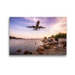 Premium Textil-Leinwand 45 x 30 cm Quer-Format Condor Airbus 320 Skiathos | Wandbild, HD-Bild auf Keilrahmen, Fertigbild auf hochwertigem Vlies, Leinwanddruck von N N