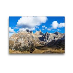 Premium Textil-Leinwand 45 x 30 cm Quer-Format Der Gran Vernel (3210 m) und die Punta Penia (3343 m), der höchste Gipfel der Marmolata Gruppe, in den herbstlichen Dolomiten | Wandbild, HD-Bild auf Keilrahmen, Fertigbild auf hochwertigem Vlies, Leinwanddruck von Martin Zwick