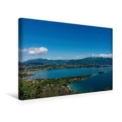 Premium Textil-Leinwand 45 x 30 cm Quer-Format Die Bucht von Manerba del Garda | Wandbild, HD-Bild auf Keilrahmen, Fertigbild auf hochwertigem Vlies, Leinwanddruck von Britta Laser von Laser,  Britta