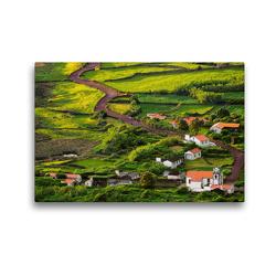 Premium Textil-Leinwand 45 x 30 cm Quer-Format Die Faja dos Cubres auf Sao Jorge, Azoren | Wandbild, HD-Bild auf Keilrahmen, Fertigbild auf hochwertigem Vlies, Leinwanddruck von Martin Zwick