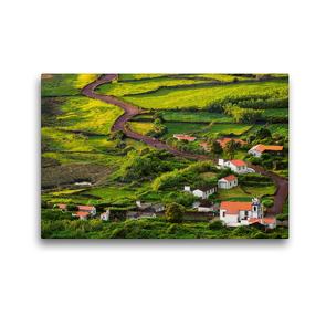Premium Textil-Leinwand 45 x 30 cm Quer-Format Die Faja dos Cubres auf Sao Jorge, Azoren   Wandbild, HD-Bild auf Keilrahmen, Fertigbild auf hochwertigem Vlies, Leinwanddruck von Martin Zwick
