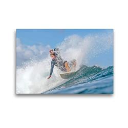 Premium Textil-Leinwand 45 x 30 cm Quer-Format Die Magie der Wellen erleben – ein Wellenreiter surft ambitioniert. | Wandbild, HD-Bild auf Keilrahmen, Fertigbild auf hochwertigem Vlies, Leinwanddruck von CALVENDO