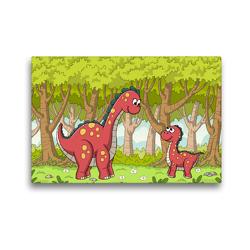 Premium Textil-Leinwand 45 x 30 cm Quer-Format Dinosaurier im Wald | Wandbild, HD-Bild auf Keilrahmen, Fertigbild auf hochwertigem Vlies, Leinwanddruck von Gabi Wolf