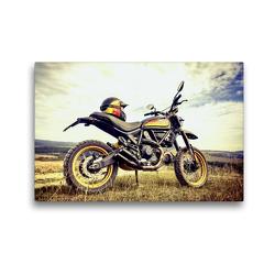 Premium Textil-Leinwand 45 x 30 cm Quer-Format Ducati Scrambler 800 Hochebene | Wandbild, HD-Bild auf Keilrahmen, Fertigbild auf hochwertigem Vlies, Leinwanddruck von Peter Franko