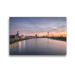 Premium Textil-Leinwand 45 x 30 cm Quer-Format Düsseldorf Skyline | Wandbild, HD-Bild auf Keilrahmen, Fertigbild auf hochwertigem Vlies, Leinwanddruck von Michael Valjak