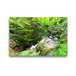 Premium Textil-Leinwand 45 x 30 cm Quer-Format Edelfrauengrabwasserfälle bei Ottenhöfen | Wandbild, HD-Bild auf Keilrahmen, Fertigbild auf hochwertigem Vlies, Leinwanddruck von Tanja Voigt