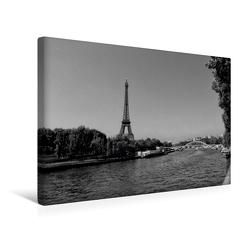 Premium Textil-Leinwand 45 x 30 cm Quer-Format Eiffelturm an der Seine in Paris | Wandbild, HD-Bild auf Keilrahmen, Fertigbild auf hochwertigem Vlies, Leinwanddruck von kattobello von Kattobello,  k.A.
