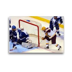 Premium Textil-Leinwand 45 x 30 cm Quer-Format Eishockey – Fußabwehr des Torhüters nach versuchtem Bauerntrick | Wandbild, HD-Bild auf Keilrahmen, Fertigbild auf hochwertigem Vlies, Leinwanddruck von Renate Bleicher