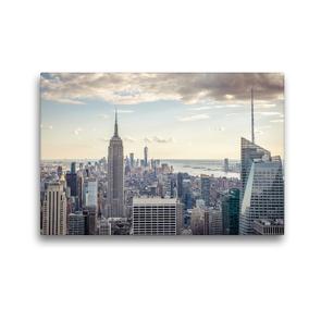 Premium Textil-Leinwand 45 x 30 cm Quer-Format Blick vom Empire State Building zum One World Trade Center | Wandbild, HD-Bild auf Keilrahmen, Fertigbild auf hochwertigem Vlies, Leinwanddruck von Philipp Blaschke