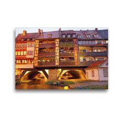 Premium Textil-Leinwand 45 x 30 cm Quer-Format Erfurts Krämerbrücke | Wandbild, HD-Bild auf Keilrahmen, Fertigbild auf hochwertigem Vlies, Leinwanddruck von Flori0