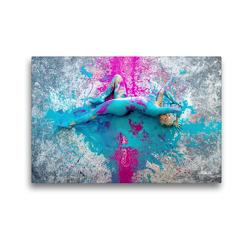 Premium Textil-Leinwand 45 x 30 cm Quer-Format FARBSPIELE – Akt im Feuerwerk der Farben | Wandbild, HD-Bild auf Keilrahmen, Fertigbild auf hochwertigem Vlies, Leinwanddruck von Ulrich Allgaier (ullision)