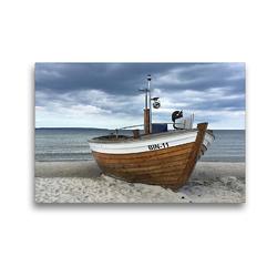 Premium Textil-Leinwand 45 x 30 cm Quer-Format Fischerboot an der Ostsee | Wandbild, HD-Bild auf Keilrahmen, Fertigbild auf hochwertigem Vlies, Leinwanddruck von (c) 2019 by Atlantismedia