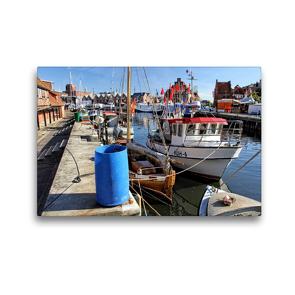 Premium Textil-Leinwand 45 x 30 cm Quer-Format Fischerboote an der Wismarer Fischerpier   Wandbild, HD-Bild auf Keilrahmen, Fertigbild auf hochwertigem Vlies, Leinwanddruck von Holger Felix