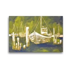 Premium Textil-Leinwand 45 x 30 cm Quer-Format Fischkutter an der Ostsee – monochromes Gemälde | Wandbild, HD-Bild auf Keilrahmen, Fertigbild auf hochwertigem Vlies, Leinwanddruck von Michaela Schimmack