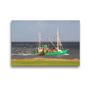 Premium Textil-Leinwand 45 x 30 cm Quer-Format Fischkutter vor Fedderwardersiel | Wandbild, HD-Bild auf Keilrahmen, Fertigbild auf hochwertigem Vlies, Leinwanddruck von Steffani Lehmann