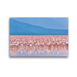 Premium Textil-Leinwand 45 x 30 cm Quer-Format Flamingos im Rift Valley | Wandbild, HD-Bild auf Keilrahmen, Fertigbild auf hochwertigem Vlies, Leinwanddruck von Jürgen Feuerer