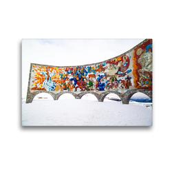 Premium Textil-Leinwand 45 x 30 cm Quer-Format Friedensdenkmal mit Aussichtsplattform Heerstraße, Kaukasus | Wandbild, HD-Bild auf Keilrahmen, Fertigbild auf hochwertigem Vlies, Leinwanddruck von Michael Stuetzle