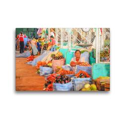 Premium Textil-Leinwand 45 x 30 cm Quer-Format Frisches Gemüse am Stand in der Markthalle, auch für Pique a lo Macho – buntes Allerlei, bolivianische Spezialität | Wandbild, HD-Bild auf Keilrahmen, Fertigbild auf hochwertigem Vlies, Leinwanddruck von Bettina Hackstein