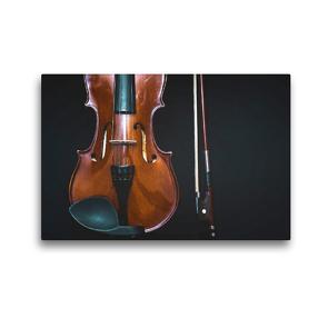 Premium Textil-Leinwand 45 x 30 cm Quer-Format Geige mit Geigenbogen | Wandbild, HD-Bild auf Keilrahmen, Fertigbild auf hochwertigem Vlies, Leinwanddruck von Renate Bleicher
