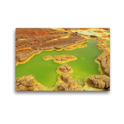 Premium Textil-Leinwand 45 x 30 cm Quer-Format Grüne Pools in der Dallol Senke | Wandbild, HD-Bild auf Keilrahmen, Fertigbild auf hochwertigem Vlies, Leinwanddruck von Michael Herzog