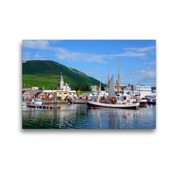 Premium Textil-Leinwand 45 x 30 cm Quer-Format Hafen von Husavik | Wandbild, HD-Bild auf Keilrahmen, Fertigbild auf hochwertigem Vlies, Leinwanddruck von Frauke Scholz