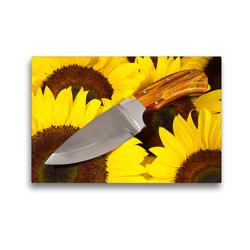 Premium Textil-Leinwand 45 x 30 cm Quer-Format Handgefertigtes Jagdmesser auf Sonnenblumen | Wandbild, HD-Bild auf Keilrahmen, Fertigbild auf hochwertigem Vlies, Leinwanddruck von Georg Hergenhan