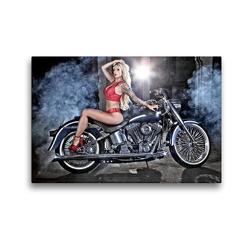 Premium Textil-Leinwand 45 x 30 cm Quer-Format Harley Davidson FLSTF Fat Boy Bj.2003   Wandbild, HD-Bild auf Keilrahmen, Fertigbild auf hochwertigem Vlies, Leinwanddruck von Udo Talmon