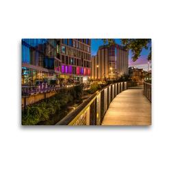 Premium Textil-Leinwand 45 x 30 cm Quer-Format Haseuferweg Osnabrück im Abend   Wandbild, HD-Bild auf Keilrahmen, Fertigbild auf hochwertigem Vlies, Leinwanddruck von Kurt Krause