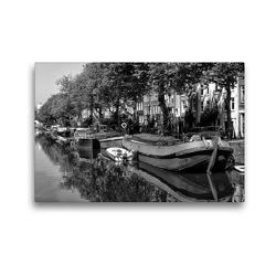 Premium Textil-Leinwand 45 x 30 cm Quer-Format Hausboote in den Grachten | Wandbild, HD-Bild auf Keilrahmen, Fertigbild auf hochwertigem Vlies, Leinwanddruck von kattobello