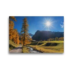 Premium Textil-Leinwand 45 x 30 cm Quer-Format Herbstlandschaft Malerisches Sertigtal in den Schweizer Alpen | Wandbild, HD-Bild auf Keilrahmen, Fertigbild auf hochwertigem Vlies, Leinwanddruck von SusaZoom