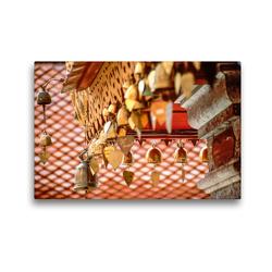 Premium Textil-Leinwand 45 x 30 cm Quer-Format Herzglocken im Kloster Doi Suthep bei Chiang Mai | Wandbild, HD-Bild auf Keilrahmen, Fertigbild auf hochwertigem Vlies, Leinwanddruck von Christian Müringer