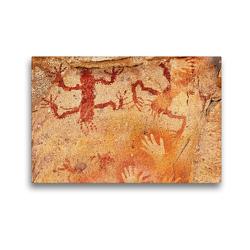Premium Textil-Leinwand 45 x 30 cm Quer-Format Höhlenmalereien Cuevas de las Manos | Wandbild, HD-Bild auf Keilrahmen, Fertigbild auf hochwertigem Vlies, Leinwanddruck von Michael Kurz