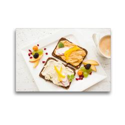 Premium Textil-Leinwand 45 x 30 cm Quer-Format Hummus auf Vollkornbrot zum Frühstück | Wandbild, HD-Bild auf Keilrahmen, Fertigbild auf hochwertigem Vlies, Leinwanddruck von Rose Hurley