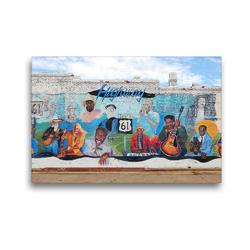 Premium Textil-Leinwand 45 x 30 cm Quer-Format Hwy. 61 Mural mit Blues Musikern, Leland, Mississippi | Wandbild, HD-Bild auf Keilrahmen, Fertigbild auf hochwertigem Vlies, Leinwanddruck von gro